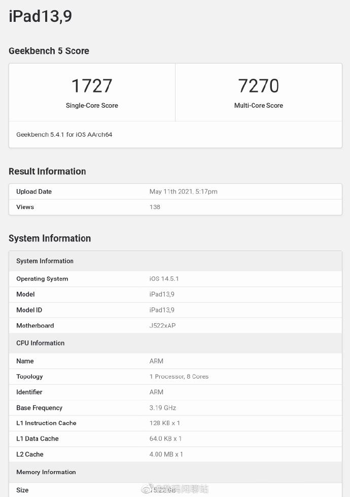 安卓平板拿啥比?M1 iPad Pro跑分公布:差距实在太大