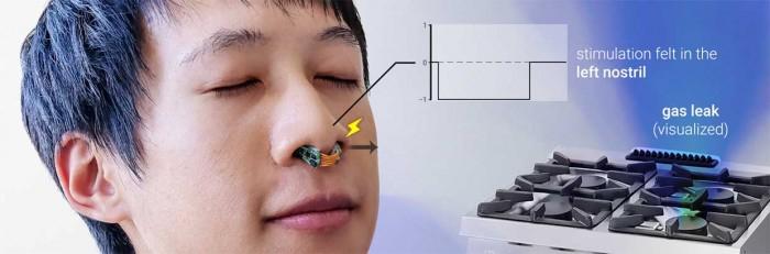 研究人员用佩戴在鼻子上的小型硬件来提供定向嗅觉的能力