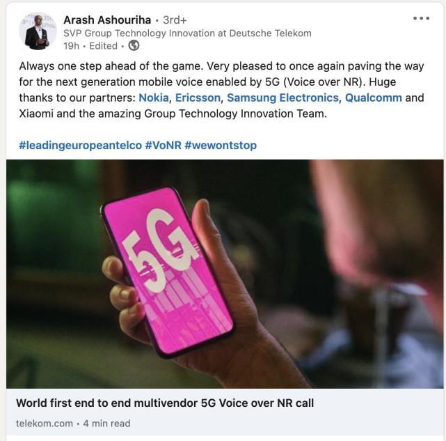 德国电信公司宣布与小米等多个合作伙伴成功实现5G VoNR通话